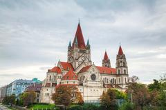 st. francis of assisi church in vienna, austria - stock photo