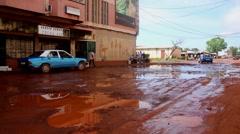 Africa street city Guine Bissau Stock Footage