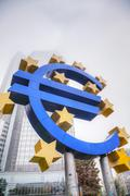 Euro sign in front of the european central bank building Stock Photos