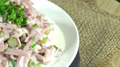 Rotating meat salad (not loopable) Stock Footage