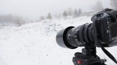 Camera under snowfall Stock Footage