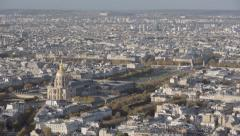 Aerial introduction shot of the the invalides and bridge Alexandre 3 in Paris. Arkistovideo