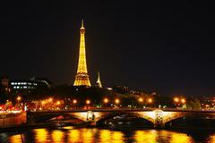 paris cityscape with eiffel tower - stock photo