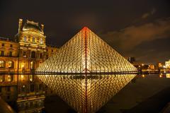 The louvre pyramid in paris at night Stock Photos