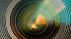 Closeup of a zooming camera lens. Ultra HD - stock footage