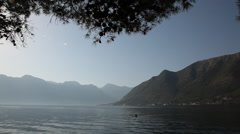 MONTENEGRO morning swimmer Stock Footage