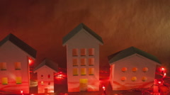 Decorative fabulous houses with red garlands. Christmas composition - stock footage