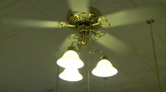 Old Bank Interior Ceiling Fan Turning Stock Footage