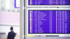 Airport timetable monitor Stock Footage