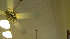 Old Bank Interior Ceiling Fan Stock Footage
