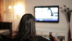 Woman watching Television - stock footage