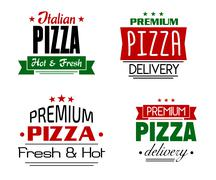 assorted pizza label designs on white background - stock illustration
