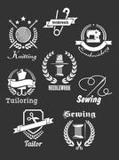 set of white handicraft icons on black - stock illustration