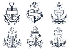 Set or marine themed ships anchor icons Stock Illustration