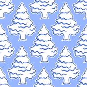 Seamless pattern of snow covered trees Stock Illustration