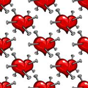 Seamless pattern of a nail studded heart Stock Illustration
