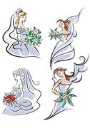 bride in bridal dress holding bouquet of flowers - stock illustration