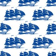seamless pattern of a fully rigged sailing ship - stock illustration