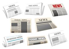assorted newspapers on white background - stock illustration