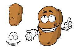 Stock Illustration of happy goofy cartoon potato character