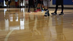 Basketball players preparing for a foul shot Stock Footage