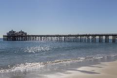 malibu pier in southern california - stock photo