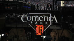 Comerica Park Sign At Night Stock Footage