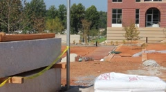 Construction site on college campus Stock Footage