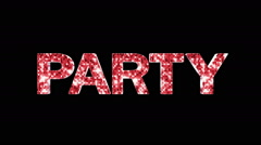 Party Only Text with Alpha Matte Stock Footage