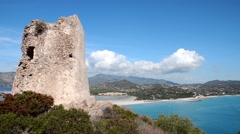 View from Saracen tower, Sardinia Stock Footage