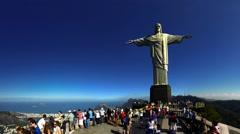 Christ the Redeemer on top of Corcovado mountain Rio de Janeiro Brazil FULL HD Stock Footage