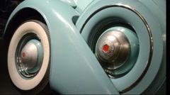 Vintage car, wheels in detail Stock Footage