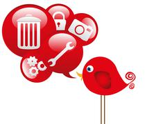 Red bird with cloud icons communications, vector illustration Stock Illustration