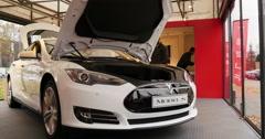 White Tesla Model S 85 inside Showroom Stock Footage