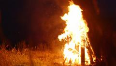 Large fire at night Stock Footage