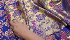 Seamstress Inspecting Fabric Stock Footage