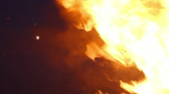 Dramatic flames of fire at night Stock Footage