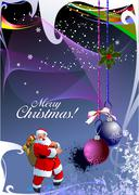 Christmas - new year shine card with golden balls and santa and new year tree Stock Illustration