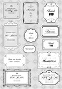 Set of ornate vector frames and ornaments with sample text Stock Illustration