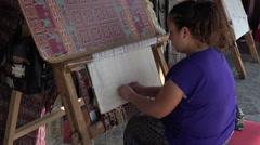 Ephesus Turkey woman handmade rug 4K 040 Stock Footage