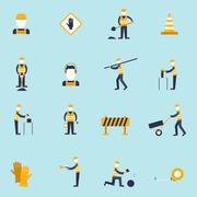Road worker flat icon Stock Illustration