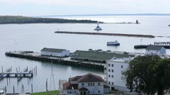 Mackinac Island Bay And Ferry Boats Stock Footage