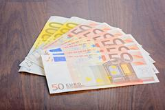 Stock Photo of Close-up of Euro banknotes on the table