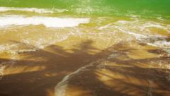 Deserted beach with the shadows of palm trees. thailand, phuket island Stock Footage