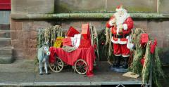 Santa claus with sleigh and donkey at waterfront Stock Footage