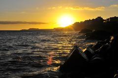 sunset over the atlantic ocean - stock photo