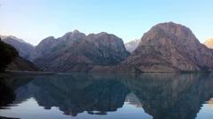 Dawn over the mountain lake. Time Lapse. Tajikistan, IskanderKul. 4K Stock Footage