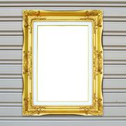 Golden frame on metal wall background Stock Photos