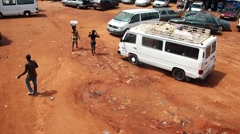 Africa market place city Bissau Guine Bissau Stock Footage