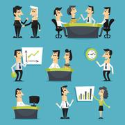 Office workers flat - stock illustration